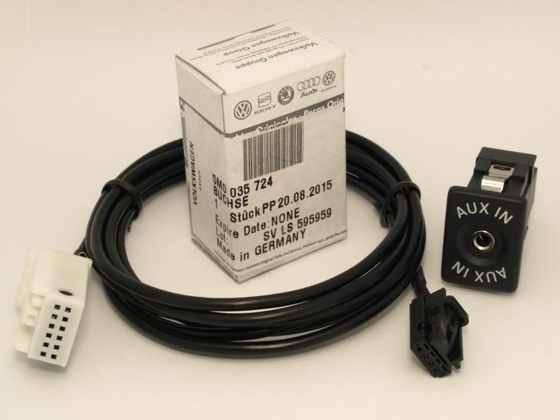 vw skoda original aux in buchse 5m0035724 adapter kabel. Black Bedroom Furniture Sets. Home Design Ideas