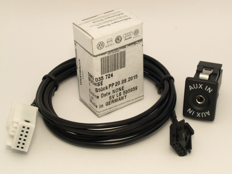 VW SKODA ORIGINAL AUX IN BUCHSE 5M0035724 + Adapter Kabel GOLF ...